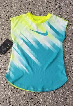 New Nike Dri Fit Kids Girls Neon  Graphic T-Shirt Top Tee Si
