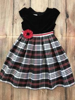 NEW JONA MICHELLE GIRL'S HOLIDAY DRESS - BLACK/WHITE/RED PLA