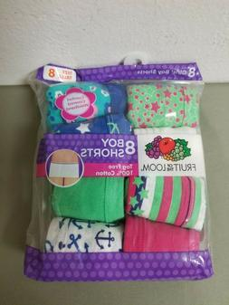 New Girls Fruit Of The Loom 8 pack Boy Shorts.