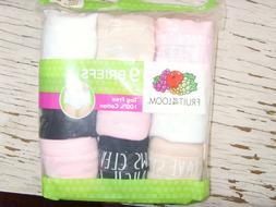 NEW Girls Fruit of the Loom 9 pc briefs underwear 4 6 8 10 1