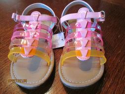 NEW Girls CHEROKEE Pink Orange Jelly Strap Sandals Size 11 S