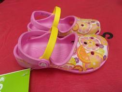 New Crocs Karin Girls party pink/ lemon novelty clogs Girl's