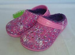 New Crocs Kids Boys & Girls Graphic Fuzz Lined Clogs Pink Am