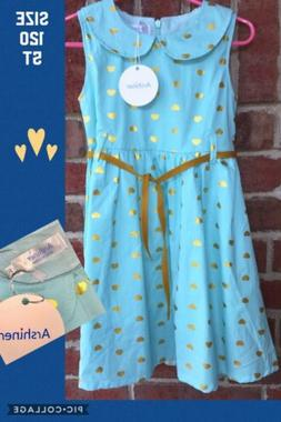 Arshiner NEW NWT Girls Size 5T Aqua Gold Hearts Church Party
