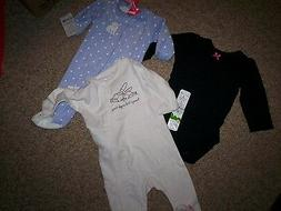 NEW NWT LOT 3 BABY GIRL OUTFITS  CARTER'S CHILDREN'S PLACE N