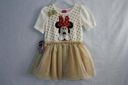 NEW Toddler Girl Dress Size 3T Minnie Mouse Short Sleeve Gol