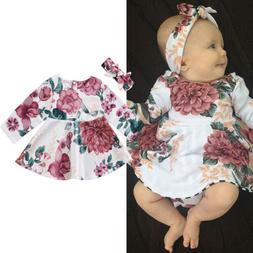 Newborn Baby Girl Long Sleeve Floral Dress Headband 2PCS Out