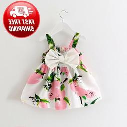 Newborn Infant Baby Girl Solid Lace Short Sleeve Dress Bow H