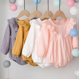 Newborn Kids Baby Girl Long Sleeve Ruffles Romper Bodysuit J