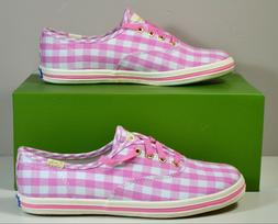 NIB KEDS BY KATE SPADE CHAMP SEASONAL PINK GINGHAM SNEAKERS