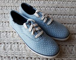 NIB Girls Keds Sneakers Flats Canvas Lt Blue Polka Dot Skate