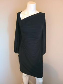 NWT $90 Size L Black Dress Ruching Asymmetrical Neck Line Lo
