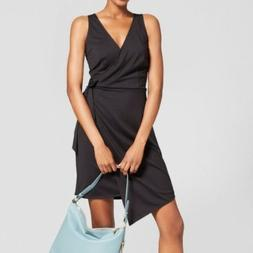 NWT A New Day Asymmetrical Sleeveless Faux Wrap Dress Black