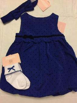 NWT Gymboree baby girl FALL blue dot bubble party DRESS sock