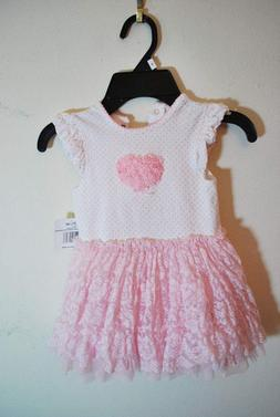 NWT Little Me Baby Girl's Rose Floral Dress Pink Lace w/ Pol