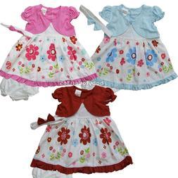 NWT Baby Girls Dress w Diaperwear Headband Outfit size 0 3 6