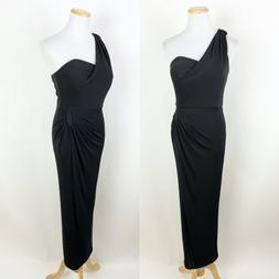 NWT ELIZA J Black One Shoulder Cocktail Dress 4 Ruched 50s S