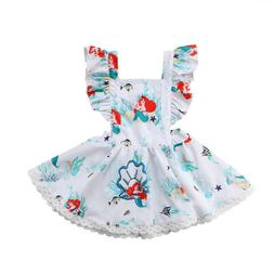 NEW Disney Princess Ariel Little Mermaid Girls Sleeveless Wh