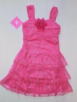 NWT IZ Byer Girl 7-16 Pink Sparkly Glitter Tiered Summer Fan