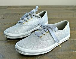 NWT GIRLS KEDS FOR KATE SPADE CHAMP DANCING SILVER GLITTER S