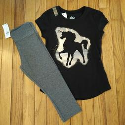 NWT Justice Girls Outfit Unicorn Top/Capri Leggings Size 6 7