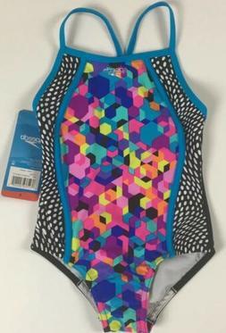 NWT Speedo Girls Swimsuit Rainbow Brights UV 50+ Chlorine Re