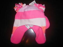 NWT The Children's Place HAT & MITTENS Girls Pink Fleece 6-1