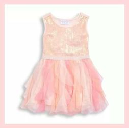 NWT THE CHILDREN'S PLACE PINK SEQUIN PALE PETAL TIERED TULLE