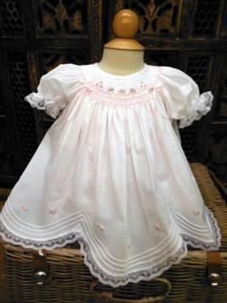 NWT Will'beth White Vintage Smocked Rose Lace Bishop Dress N