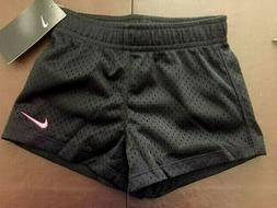 NWT Nike Youth Girls Mesh Athletic Shorts Sz 4T Black w/ pin