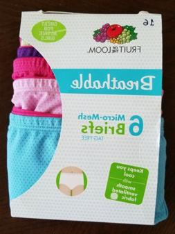 Pack of 6 Fruit of the Loom Girls Breathable Micro-Mesh Brie
