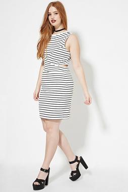 Forever 21 Plus Size White Black  Cutout Striped Dress 2X