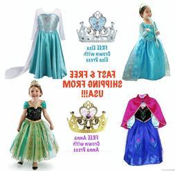 FROZEN Princess Anna & Queen Elsa Disney Girl Halloween Cost