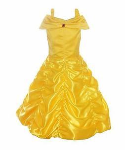 Princess Belle Dress Off Shoulder Layered Ruffle Costume Dre