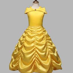 Princess Belle Yellow Off Shoulder Layered Costume Dress Lit