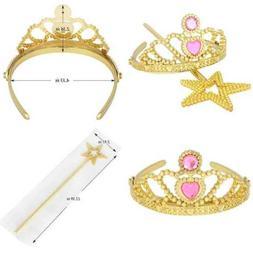 Princess Dress Up Tiara & Star Wand GOLD Set Tiaras Crowns F