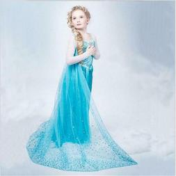 Princess Elsa Dress for Girls Cosplay Elza Frozen Costume Ha