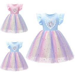 Princess Toddler Kids Baby Girls Rainbow Unicorn Tulle Tutu