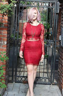 Red Lace Two Piece Set