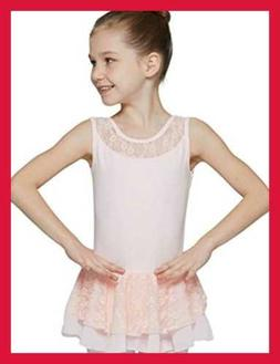 MdnMd Skirted Leotard for Girls with 2-Layer Lace Dress (Bal