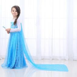 Snow Queen Princess Dress Elsa Costumes Birthday Party Dress