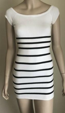 Bebe Striped Knit Bodycon Mini Dress Size S White Black Cap