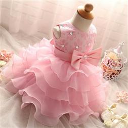 Toddler Girl Dress Baby Girls Princess Tutu Baptism Gown 1st
