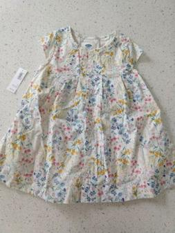 OLD NAVY Toddler Girl Lined Flower Dress Metal Buttons Size