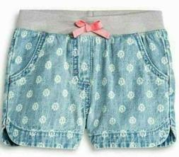 Cherokee Toddler Girls Floral Jean Shorts, Light wash: 3T Ne