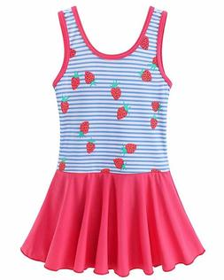 BAOHULU Toddler Girls Swimsuit One Piece Cute Floral Dress S