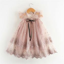 Toddler Kids Baby Girl Lace Dress Birhtday Party Princess Dr