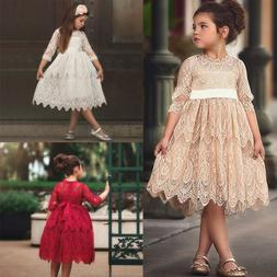Toddler Kids Baby Girl Lace Flower Princess Tulle Party Page