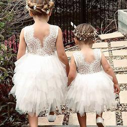 Toddler Kids Baby Girls Sleeveless Dress Birhtday Baptism Pa