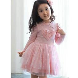Toddler Kids Girls Dress Princess Party Long Sleeve Tutu Ska